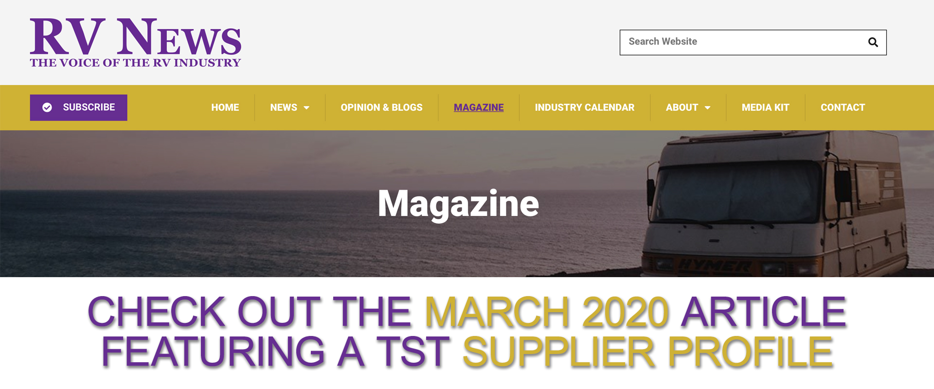 Check out the March 2020 RVNEWS TST Supplier Profile