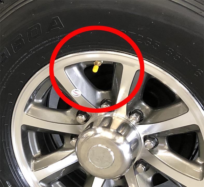 Yellow Valve Stem Cap indicates Internal Sensor Installed at Factory